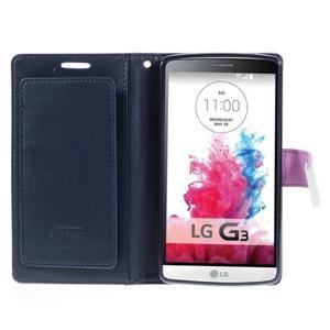 Luxusní PU kožené puzdro pre mobil LG G3 - fialové - 4