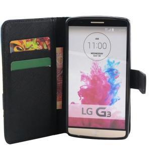 Obrázkové koženkové pouzdro na mobil LG G3 - modrý motýl - 4