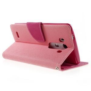 Cross PU kožené pouzdro na LG G3 - růžové - 4