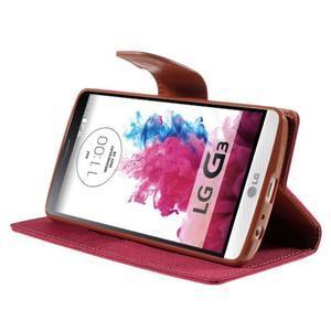 Canvas PU kožené/textilné puzdro pre LG G3 - rose - 4