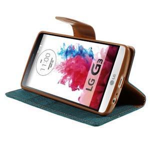 Canvas PU kožené/textilné puzdro pre LG G3 - zelené - 4