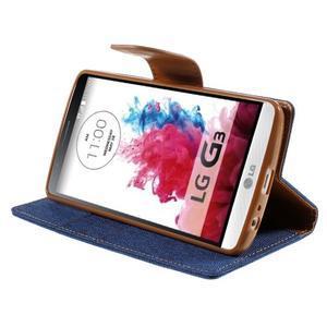 Canvas PU kožené/textilní pouzdro na LG G3 - modré - 4