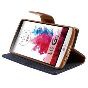 Canvas PU kožené/textilné puzdro pre LG G3 - tmavomodré - 4