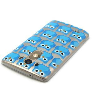 Priehľadný gélový obal pre LG G3 - modré malej sovy - 4