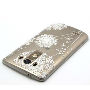 Priehľadný gélový obal pre LG G3 - biela púpava - 4
