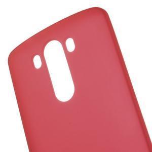 Matný gelový obal na LG G3 - červený - 4
