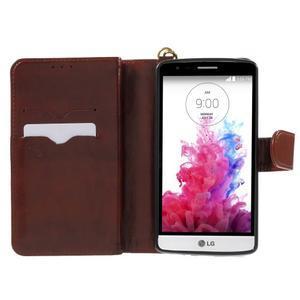 Patrové peňaženkové puzdro pre mobil LG G3 - hnedé - 4