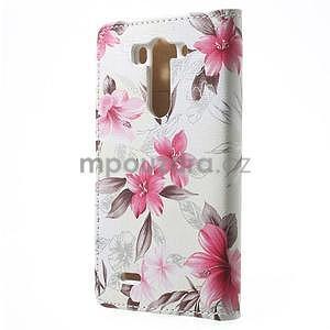 Elegantné lilie peňaženkové puzdro na LG G3 s - biele - 4