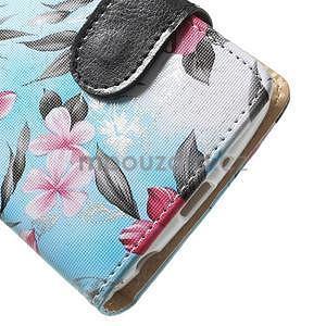 Elegantné lilie peňaženkové puzdro na LG G3 s - tyrkysové - 4