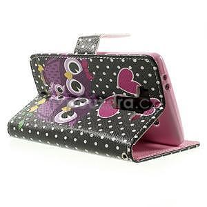 Zapínací peňaženkové puzdro pre LG G3 s - soví rodinka - 4