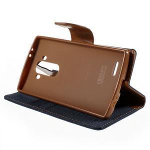 Canvas PU kožené/textilní pouzdro na mobil LG G4 - tmavěmodré - 4