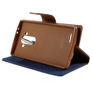 Canvas PU kožené/textilní pouzdro na mobil LG G4 - modré - 4