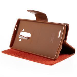 Canvas PU kožené/textilní pouzdro na mobil LG G4 - oranžové - 4