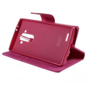 Canvas PU kožené/textilní pouzdro na mobil LG G4 - rose - 4
