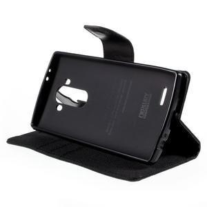 Canvas PU kožené/textilné puzdro pre mobil LG G4 - čierne - 4