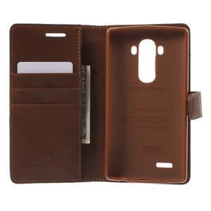 Luxury PU kožené puzdro pre mobil LG G4 - hnedé - 4