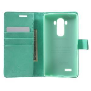 Luxury PU kožené puzdro pre mobil LG G4 - cyan - 4