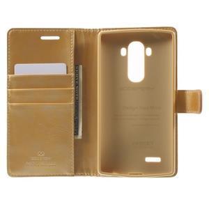 Luxury PU kožené puzdro pre mobil LG G4 - zlaté - 4