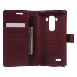 Luxury PU kožené puzdro pre mobil LG G4 - vínove červené - 4