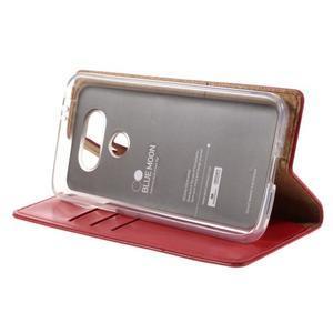 Luxury PU kožené puzdro pre mobil LG G5 - červené - 4