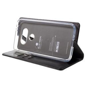 Luxury PU kožené puzdro pre mobil LG G5 - čierne - 4