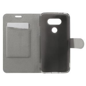 Horse PU kožené peněženkové pouzdro na LG G5 - černé - 4