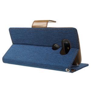 Canvas PU kožené/textilné puzdro pre LG G5 - modré - 4