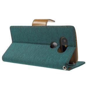 Canvas PU kožené/textilné puzdro pre LG G5 - zelené - 4