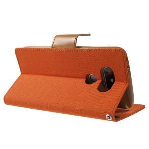 Canvas PU kožené/textilní pouzdro na LG G5 - oranžové - 4