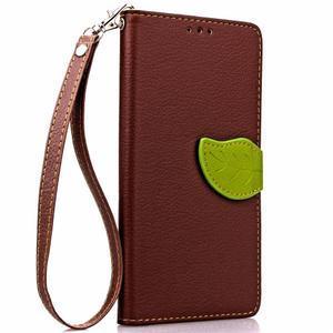 Leaf PU kožené puzdro pre LG G5 - hnedé - 4