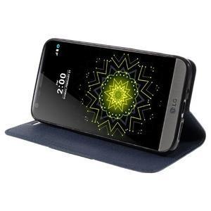 Klopové peneženkové pouzdro na LG G5 - tmavěmodré - 4