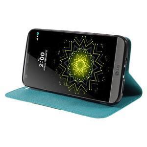 Klopové peneženkové pouzdro na LG G5 - světlemodré - 4