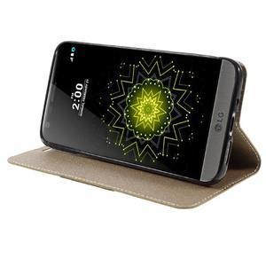 Klopové peňaženkové puzdro pre LG G5 - zlaté - 4