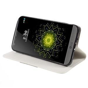 Klopové peňaženkové puzdro pre LG G5 - biele - 4