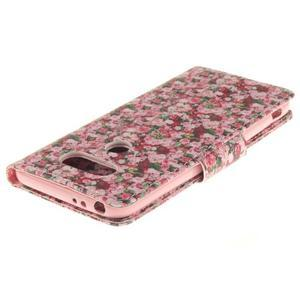 Obrázkové koženkové puzdro pre LG G5 - růže - 4