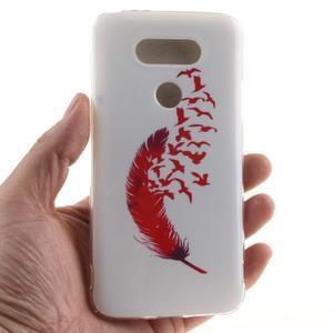 Softy gelový obal na mobil LG G5 - červené peříčko - 4