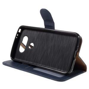 Cloth koženkové peňaženkové puzdro pre LG G5 - tmavomodré - 4