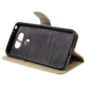 Cloth koženkové peněženkové pouzdro na LG G5 - béžové - 4