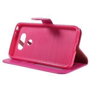 Cloth koženkové peňaženkové puzdro pre LG G5 - rose - 4