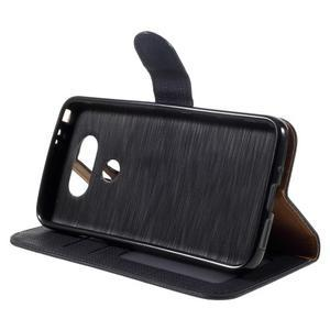 Cloth koženkové peňaženkové puzdro pre LG G5 - čierne - 4