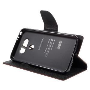 Goos stylové PU kožené pouzdro na LG G5 - hnědé - 4