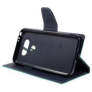 Goos stylové PU kožené pouzdro na LG G5 - cyan - 4