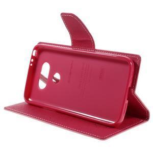 Goos stylové PU kožené puzdro pre LG G5 - ružové - 4