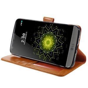 Wax peňaženkové puzdro pre LG G5 - oranžové - 4