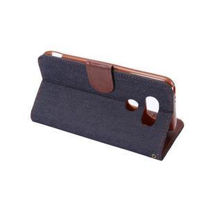 Jeans peňaženkové puzdro pre LG G5 - černomodré - 4