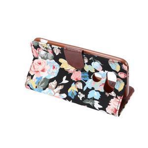 Kvetinové puzdro pre mobil LG G5 - čierny vzor - 4