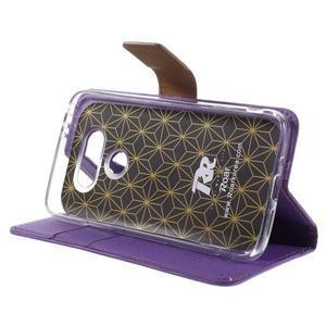 Diary PU kožené puzdro pre mobil LG G5 - fialové - 4