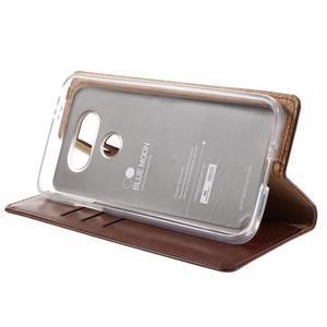 Luxury PU kožené puzdro pre mobil LG G5 - hnedé - 4