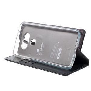 Luxury PU kožené puzdro pre mobil LG G5 - tmavomodré - 4