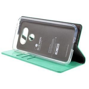Luxury PU kožené puzdro pre mobil LG G5 - cyan - 4